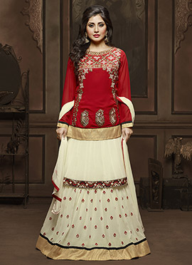 Rimi Sen Red N Cream Long Choli Lehenga