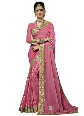 Rose Pink Embellished Half N Half Saree