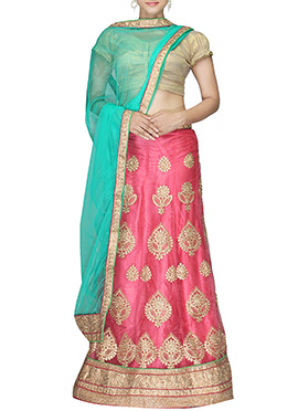 Rose Pink Embroidered Net A Line Lehenga Choli