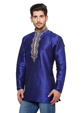 Royal Blue Art Dupion Silk Kurta