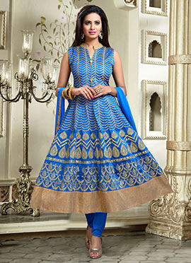 Royal Blue Art Silk Anarkali Suit