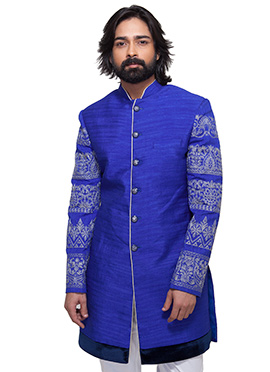 Royal Blue Art Silk Inowestern Sherwani