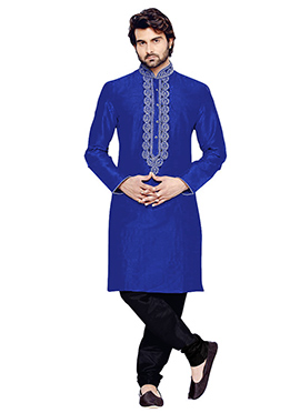 Royal Blue Art Silk Kurta Pyjama