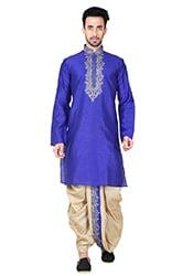 Royal Blue Art Silk Dhoti Set