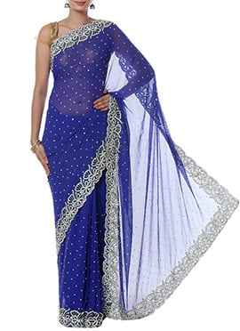 Royal Blue Chiffon Saree
