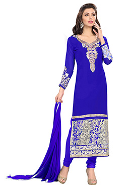 Royal Blue Embroidered Straight Suit