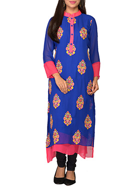 Royal Blue Georgette Embroidered Long Kurti