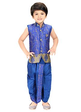 Royal Blue Kids Dhoti Kurta Set