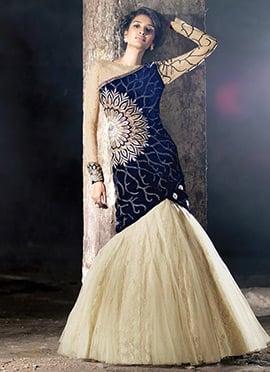 Royal Blue N Cream Gown