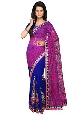 Royal Blue N Magenta Pink Half N Half Saree