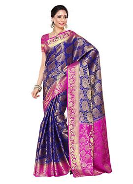 Royal Blue N Rani Pink Raw Silk Saree