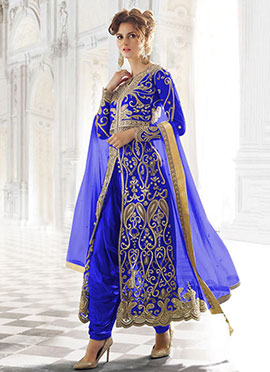 Royal Blue Net Patiala Suit