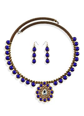 Royal Blue Stone Beautified Choker Necklace Set