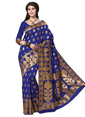 Royal Blue Tussar Silk Border Saree