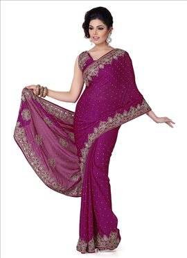 Royal Look Crystals Enhanced Chiffon Saree