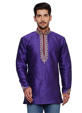 Royal Purple Art Dupion Silk Kurta