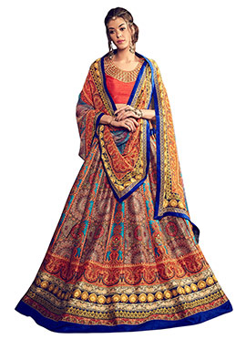 Rust Art Silk Lehenga Choli