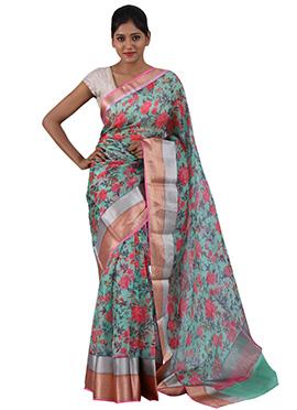 Sailesh Singhania Light Green Pure Kota Silk Saree