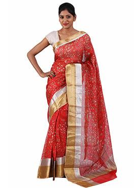 Sailesh Singhania Red Pure Kota Silk Saree
