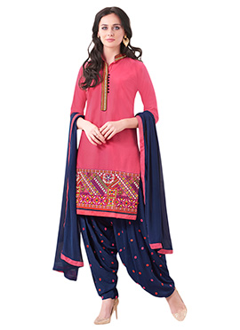 Salmon Pink Embroidered Patiala Suit