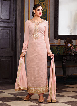 Salmon Pink Georgette Pakistani Suit