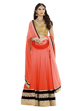 Salmon Pink N Black Long Choli Lehenga