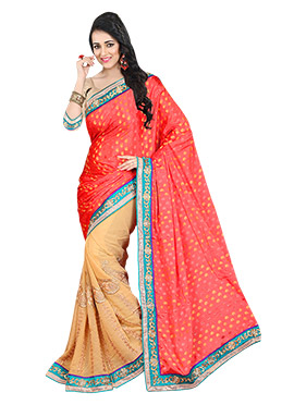 Salmon Red N Peach Half N Half Saree