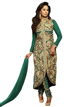 Sangeeta Ghosh Heavy Embroidered Green Churidar Su