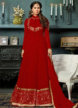 Sangeeta Ghosh Maroon Anarkali Suit