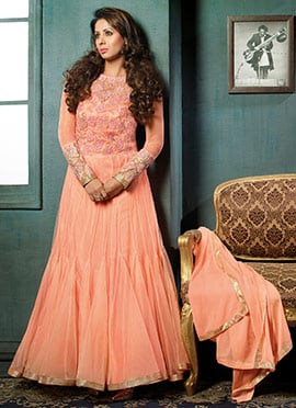 Sangeeta Ghosh Peach Anarkali Suit