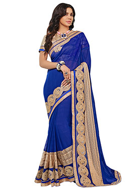 Sara Loren Dark Blue Jute Silk Border Saree
