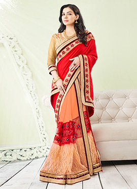 Sara Loren Embroidered Half N Half Saree