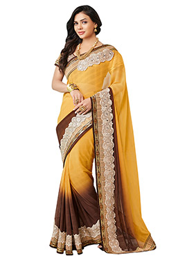 Sara Loren Yellow N Brown Jute Silk Border Saree