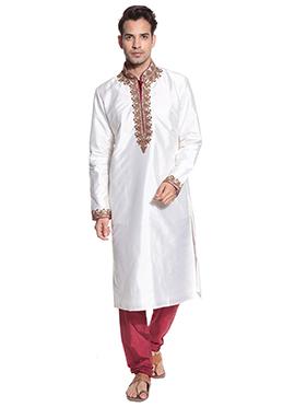 Satin White Kurta Pyjama