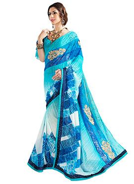 Sea Blue N Off White Printed Saree
