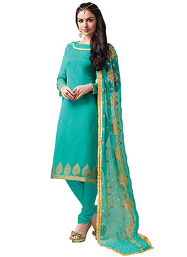 Sea Green Benarasi Chanderi Churidar Suit