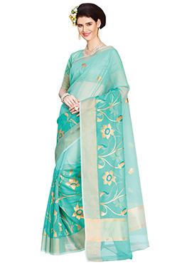 Sea Green Embroidered Saree