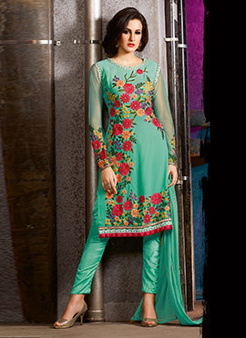 Sea Green Georgette Straight Pant Suit