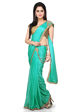 Sea Green Lycra Ready Pleated Saree