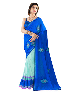 Sea Green N Blue Georgette Half N Half Saree