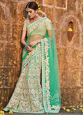 Sea Green Net Embroidered Lehenga Saree