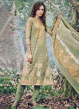 Seige Green Jacquard Straight Pant Suit