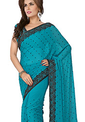 Sensational Look Crystals Enhanced Chiffon Saree