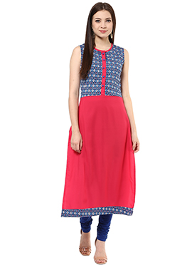 Shakumbhari Blue N Dark Pink Long Kurti
