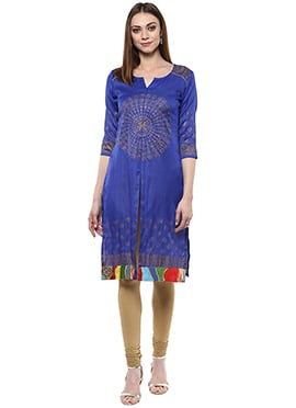 Shakumbhari Blue Silk Cotton Kurti
