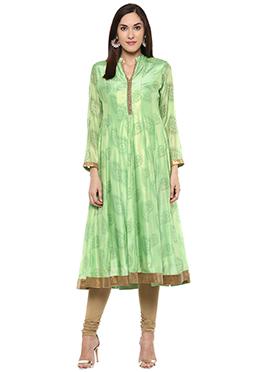 Shakumbhari Green Chiffon Anarkali Kurti