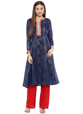 Shakumbhari Navy Blue Flared Kurti