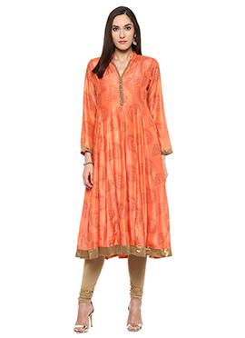 Shakumbhari Orange Chiffon Anarkali Kurti