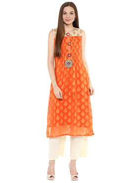 Shakumbhari Orange Chiffon Straight Kurti