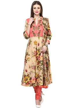 Shakumbhari Peach Cotton Anarkali Suit
